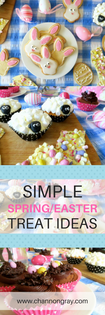 Easter treats - Spring-Themed Easter Treats Ideas perfect for making with children or embracing this pastel filled, chocolate and festive time of the year. Includes rabbit shortbread cookies, sheep marshmallow cupcakes, white chocolate with sprinkles 'bark' and chic-nest chocolate cupcakes. // Channon Gray - heythereChannon #Easter #Spring #Treats #Simple #Food #Children - Ideas/Treats to make with Children!