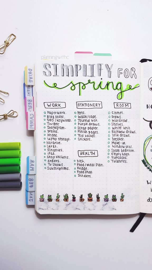 It's the time of year when Spring Cleaning routines start happening and the check lists come out. I've put together a load of advice to help you to declutter your life, become a minimalist and simplify your lifestyle to improve your sense of self, mental health, productivity, happiness, organisation, depression, anxiety and worries. You can use a bullet journal to help you declutter and organise any cleaning tasks you might have, check out how here... // heythereChannon - channongray.com - #springclean #bujo #bulletjournal
