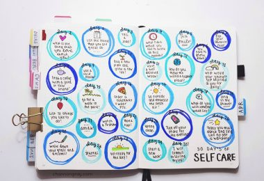 Self-care doesn't have to cost money, be glamorous or worth over-sharing with the world. It's about learning what makes you happy. Most importantly, self-care is when you enable yourself to be the person you've always wanted to be. A bullet journal can be a great self-care tool to improve your mental wellbeing // heythereChannon - www.channongray.com #bulletjournal #selfcare #productivity #wellbeing #stationery